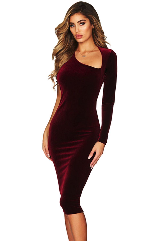Burgundy asymmetric shoulder one sleeve velvet midi dress