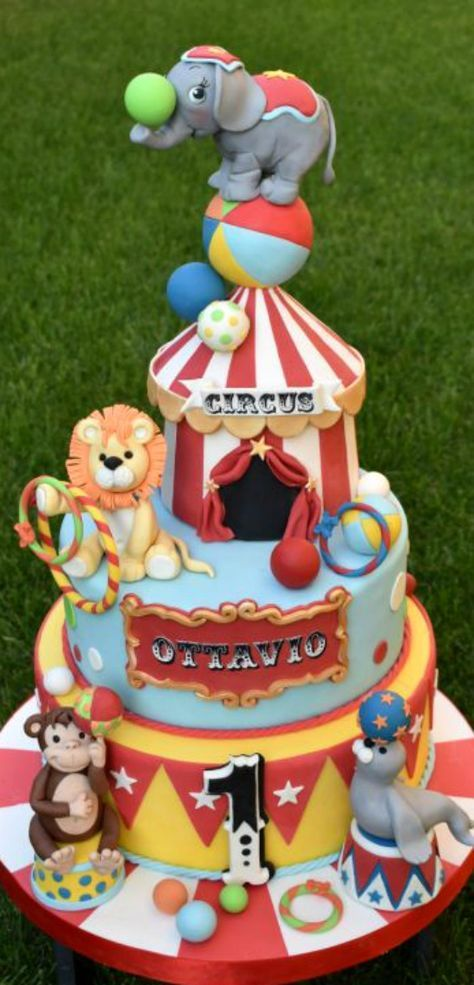Superb Circus Cake Circus Birthday Party Theme Circus 1St Birthdays Personalised Birthday Cards Veneteletsinfo
