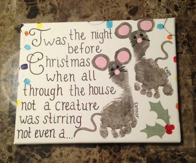 The Night Before Christmas Poem Printable & Footprint Mouse Craft #holidaycraftsforkidstomake
