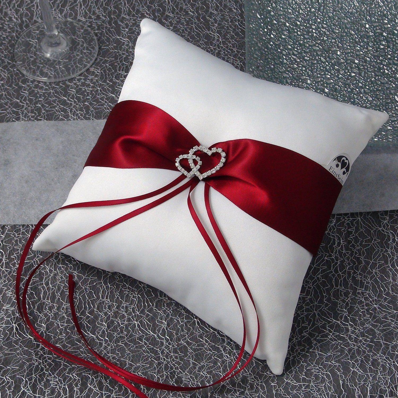zubeh r hochzeit ringkissen ring ringe rot wei romantisch schlicht online g nstig wedding. Black Bedroom Furniture Sets. Home Design Ideas
