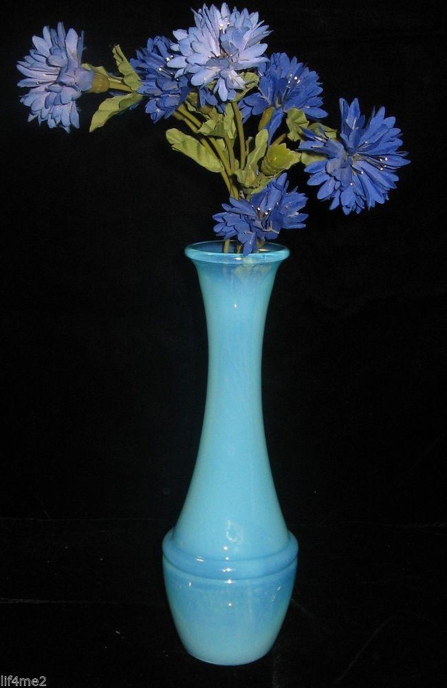 "Stunning Opalescent Blue Bud Vase  9"""
