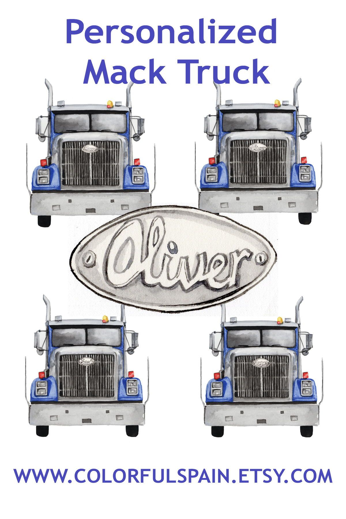 Personalized Mack truck. Boys room print. Custom with boys ...
