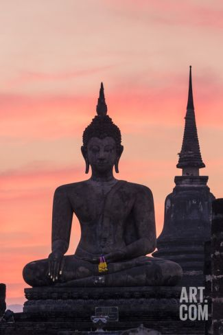 Thailand, Sukhothai Historical Park. Wat Mahathat Temple at Sunset Photographic Print by Matteo Colombo at Art.com