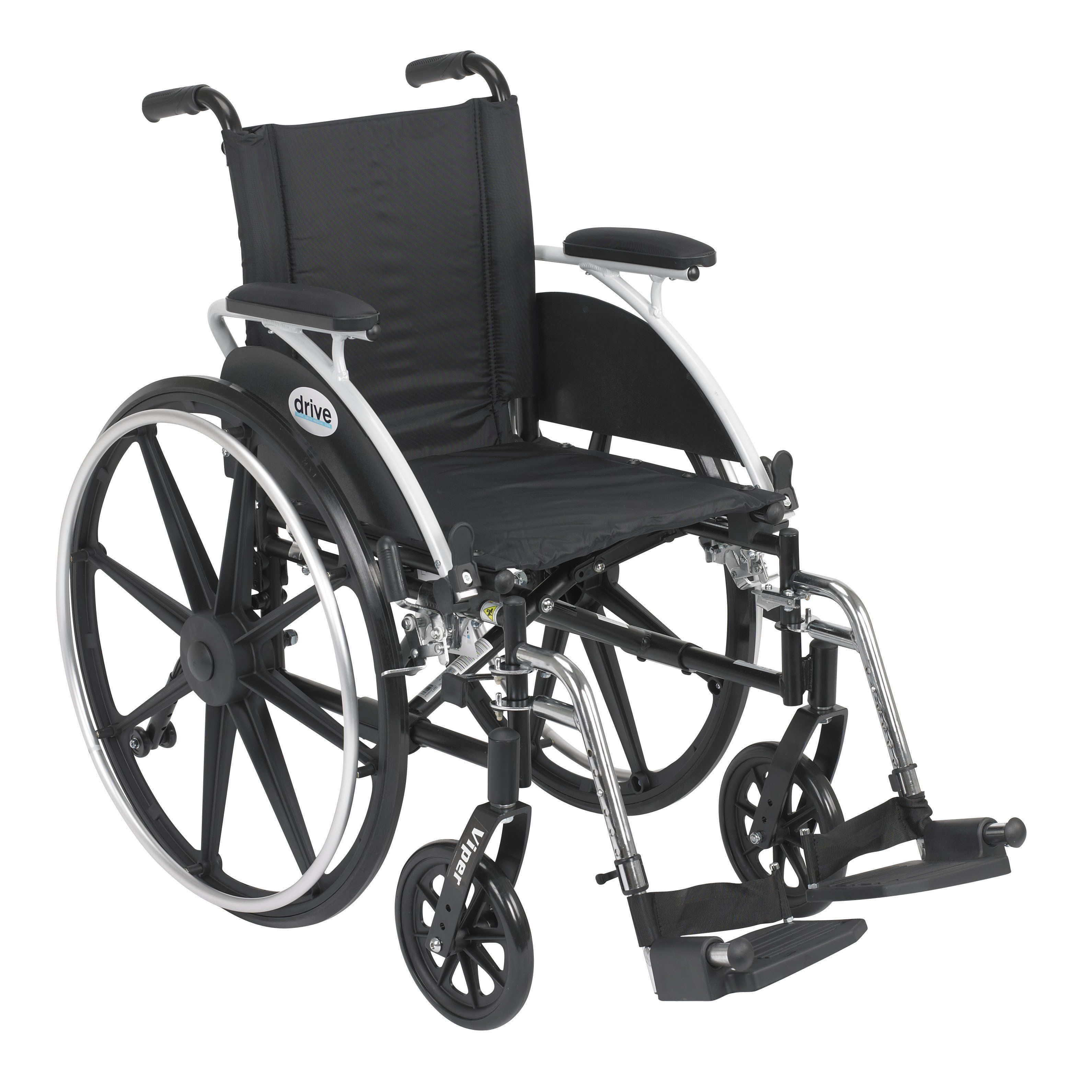Drive l412dda-sf Viper Wheelchair with Flip Back Removable Arms, Desk Arms, Swing away. The Drive Medical Viper is a versatile wheelchair right out of the box and it is easier to propel and transport than an average weight wheelchair. The Viper comes standard with adjustable padded arms, multiple seat to floor height positions, anti-tippers with flip-up wheels which never have to be removed and push to lock wheel locks. The back is height adjustable to provide added patient comfort. The…