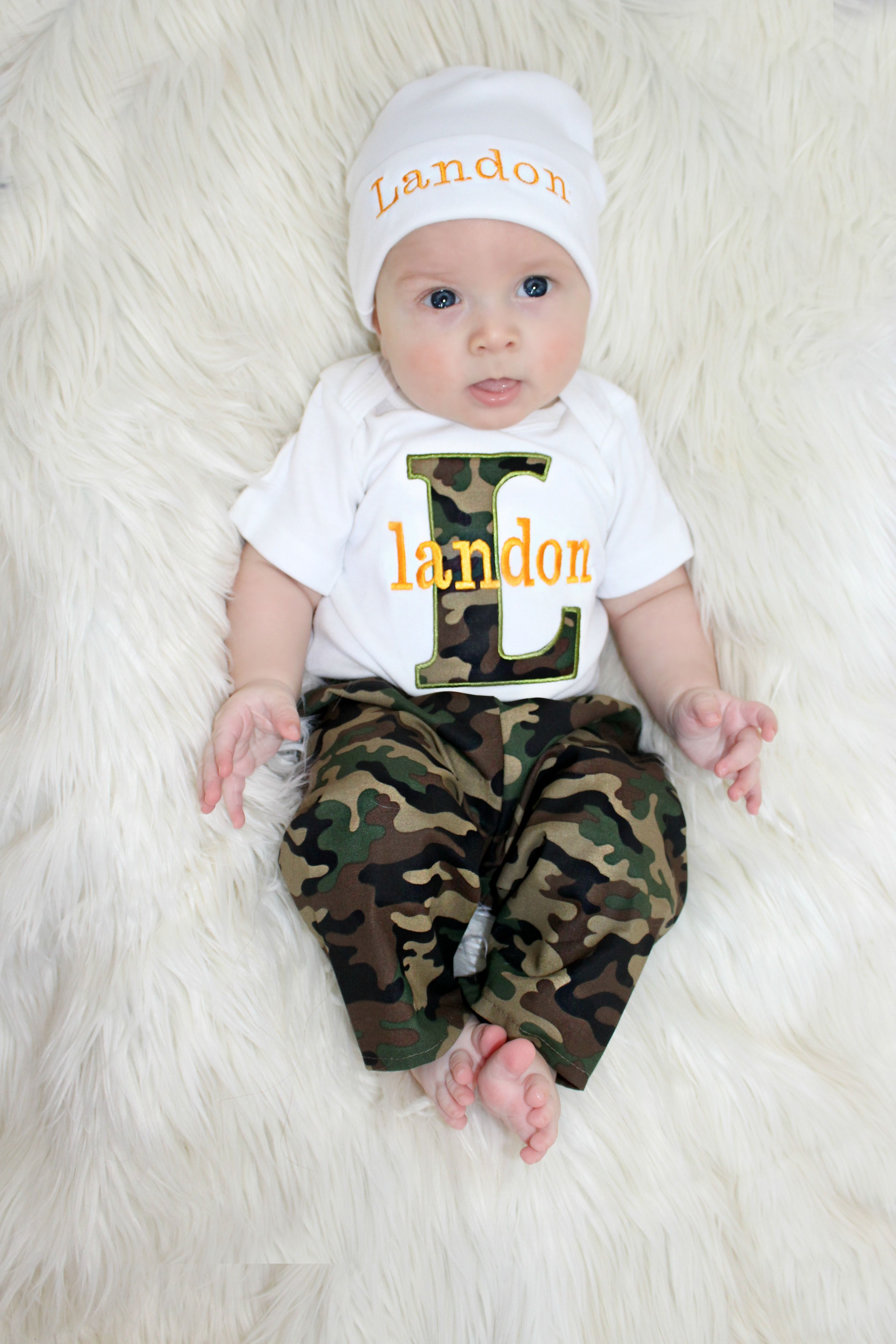 Personalized Baby Boy Camo Pants Outfit Sassy Locks
