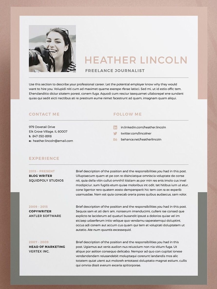 Professional Resume Template  Cv Template With Matching Cover
