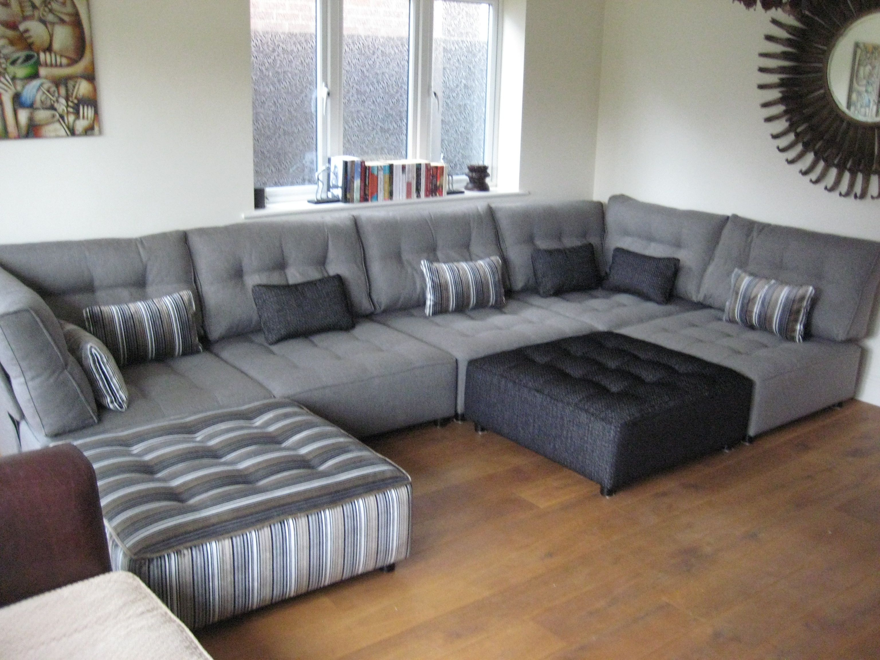 Such A Clever Use Of Neutrals On This Enormous Sectional Sofa Set