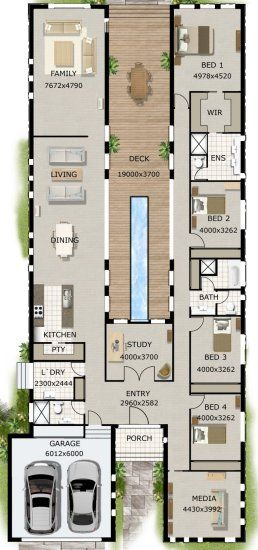 4 Bed Study 2 Bath House Plan Courtyard House Plans Container House Plans Narrow Lot House