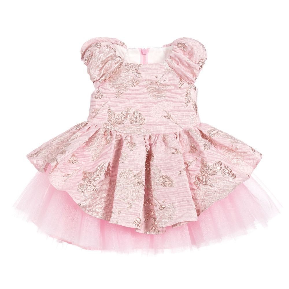 93dadc780b53d Baby Girls Pink Jacquard Dress for Girl by David Charles. Discover more  beautiful designer Dresses for kids online