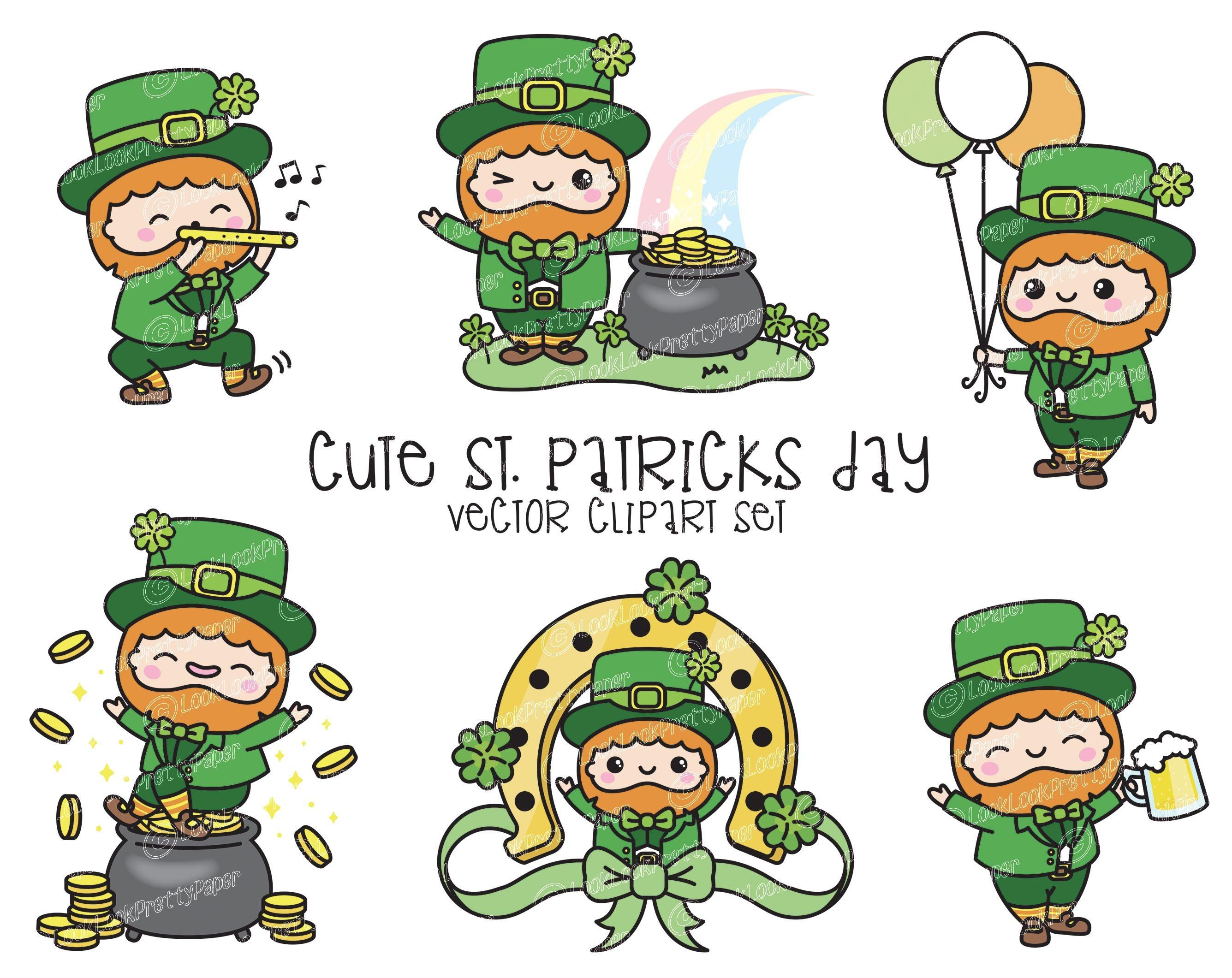 Premium Vector Clipart Kawaii St Patrick S Day Clipart Etsy Clip Art St Patricks Day Clipart Leprechaun Clipart