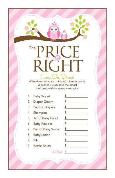 Instant Download Pink Owl Price Is Right Baby Shower Game Pink