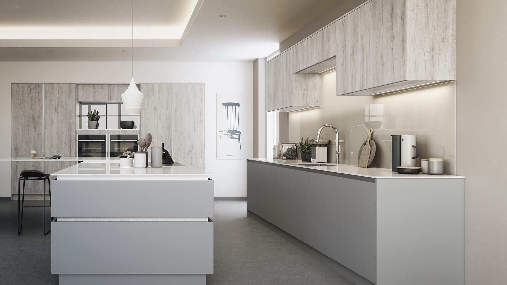 Use A Contrast Of Wood And Soft Textured Finishes In Your Kitchen