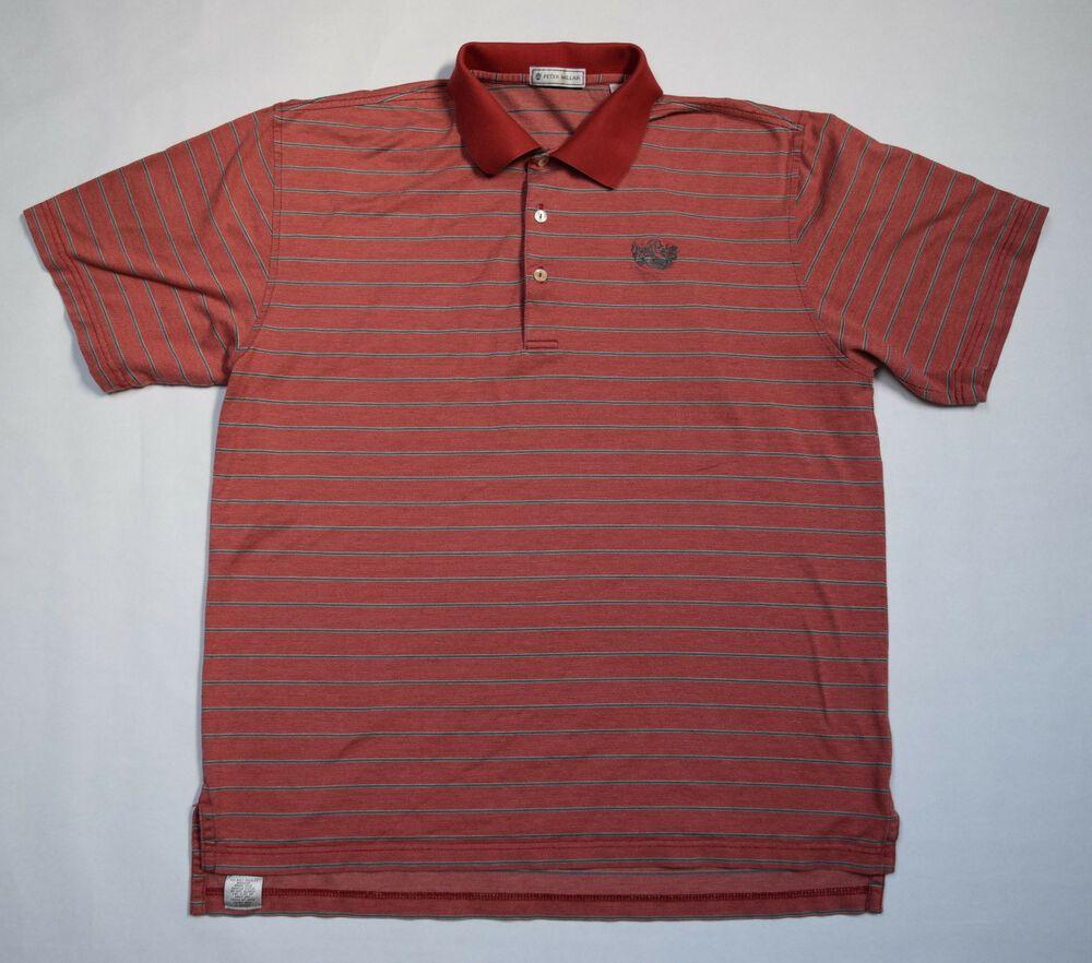 Peter Millar Polo Golf Shirt Quail Ridge Logo Cotton Sz M