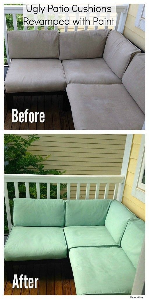 Ugly Patio Cushions Revamped with Paint - Painting Fabric Furniture
