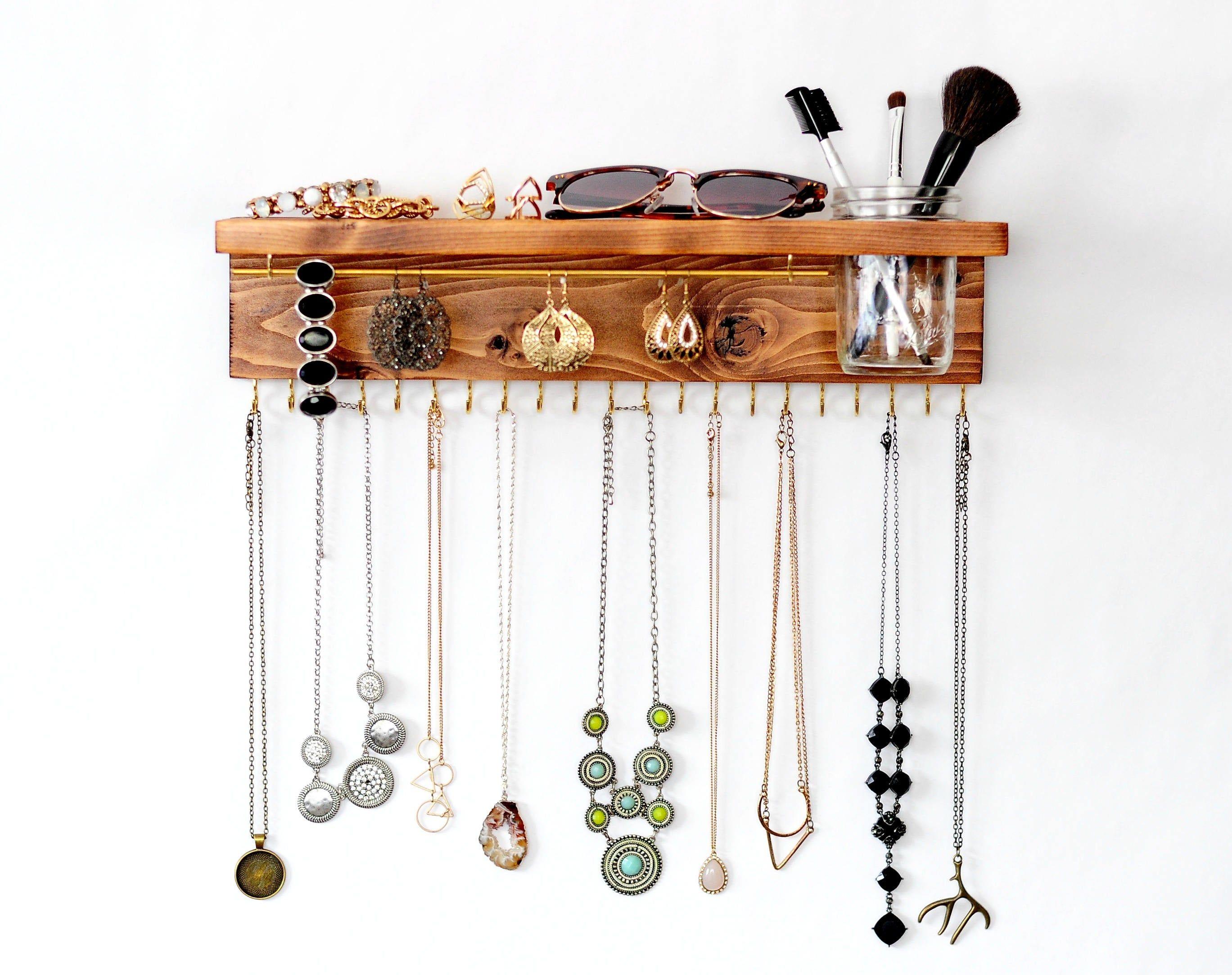 Jewelry holder with bracelet bars Jewelry Organizer necklace hooks Jewelry Display earring display earring holder Jewelry storage
