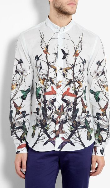 Extraordinary Shirts! Make heads turn with this Bird Themed Alexander McQueen Shirt. More Fashion Trends @ rickysturn/mens-fashion