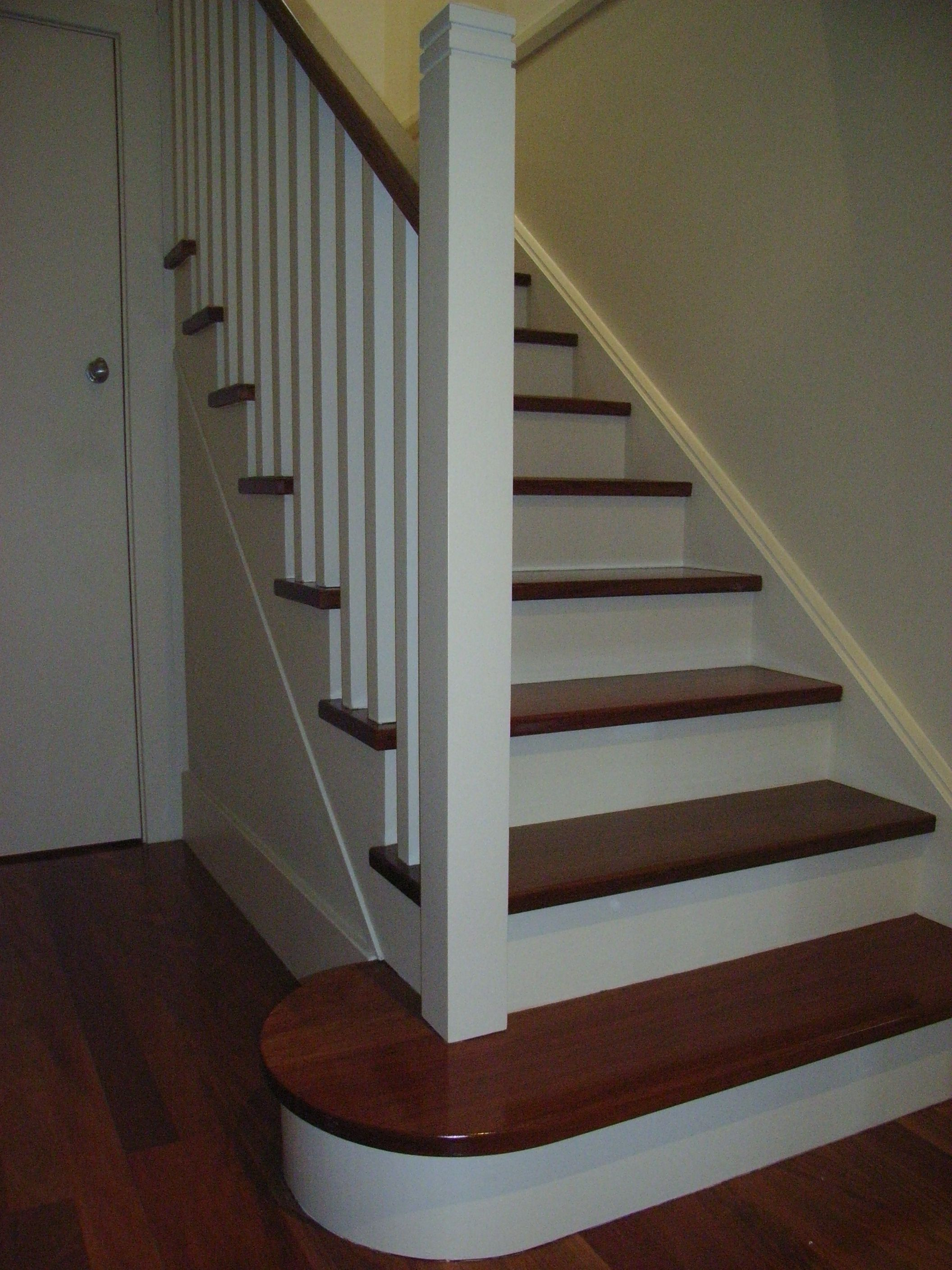 Timber Treads And Handrail With Painted Stringers, Risers And Balusters