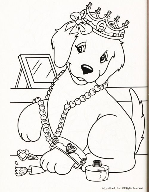 Lisa Frank Coloring Page Dog Yellow Lab Golden Retriever Casey Camus Candy Jewels Dress Up Crown