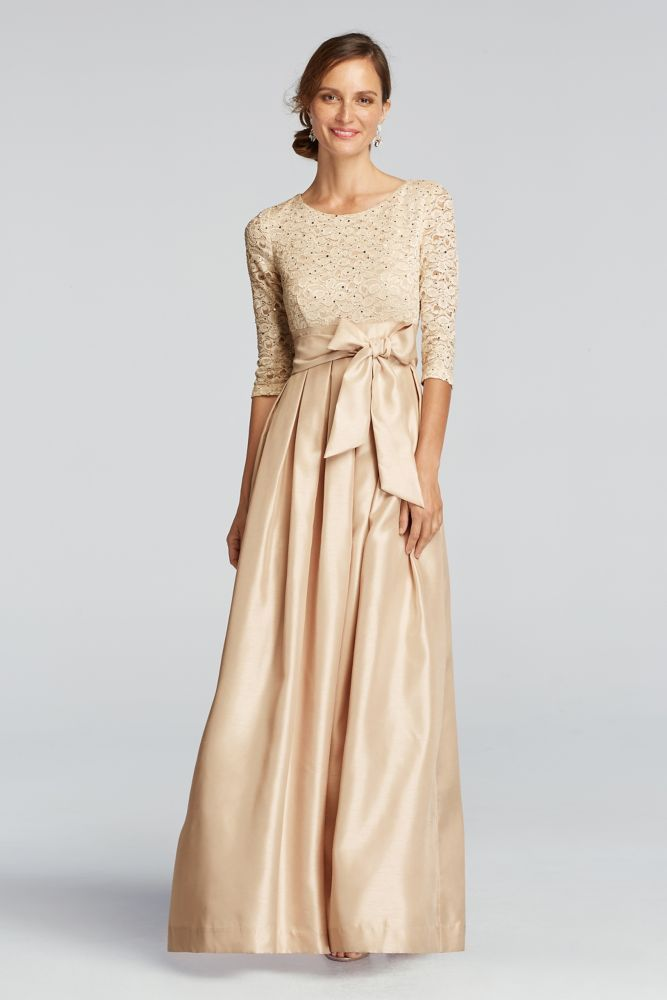 391488412fc 3 4 Shimmer Lace Sleeve Mother of Bride Groom Dress with Shantung Skirt -  Champagne (Yellow)