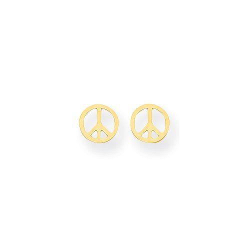14k Gold Peace Sign Post Earrings
