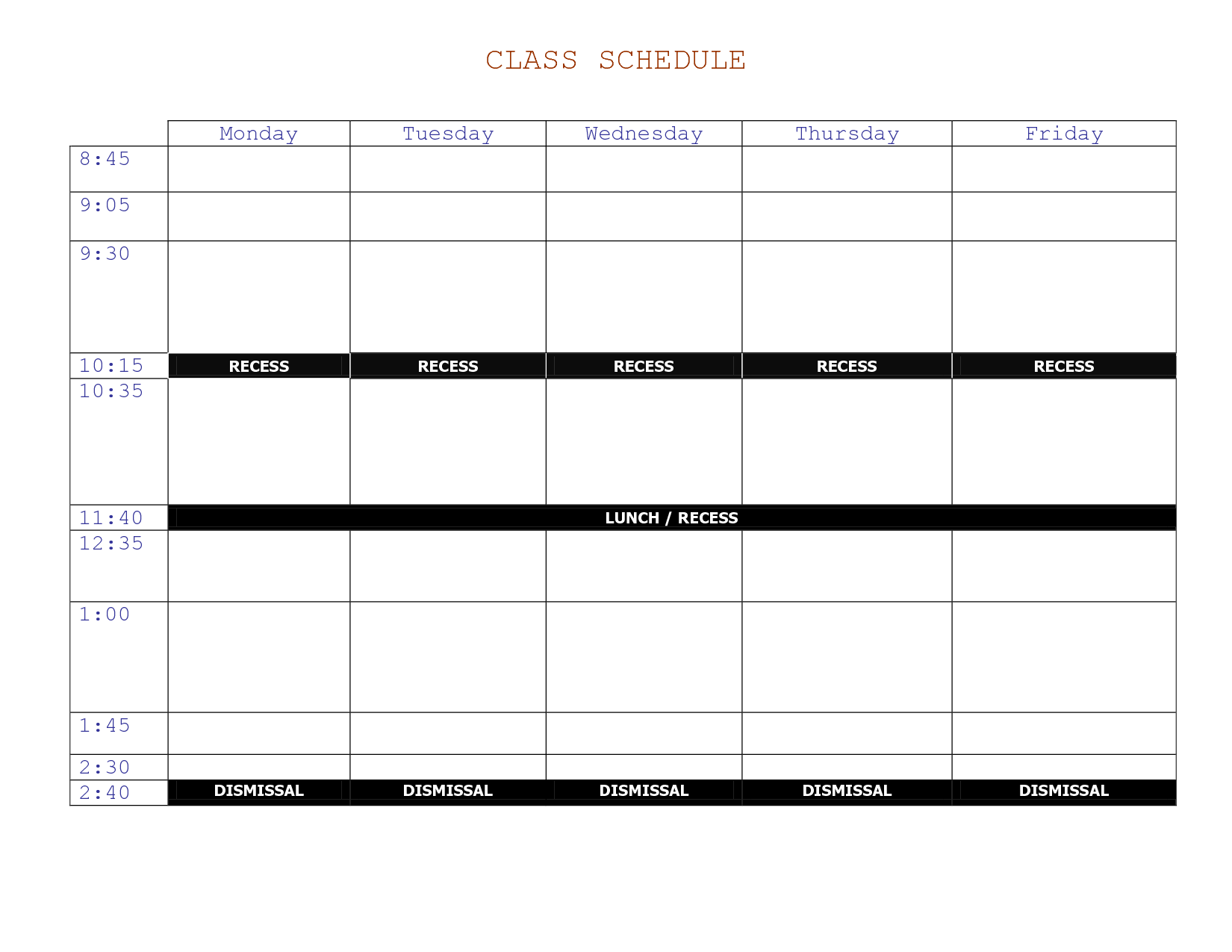 Class Schedule Templates Free Printable Calendar And Weekly For