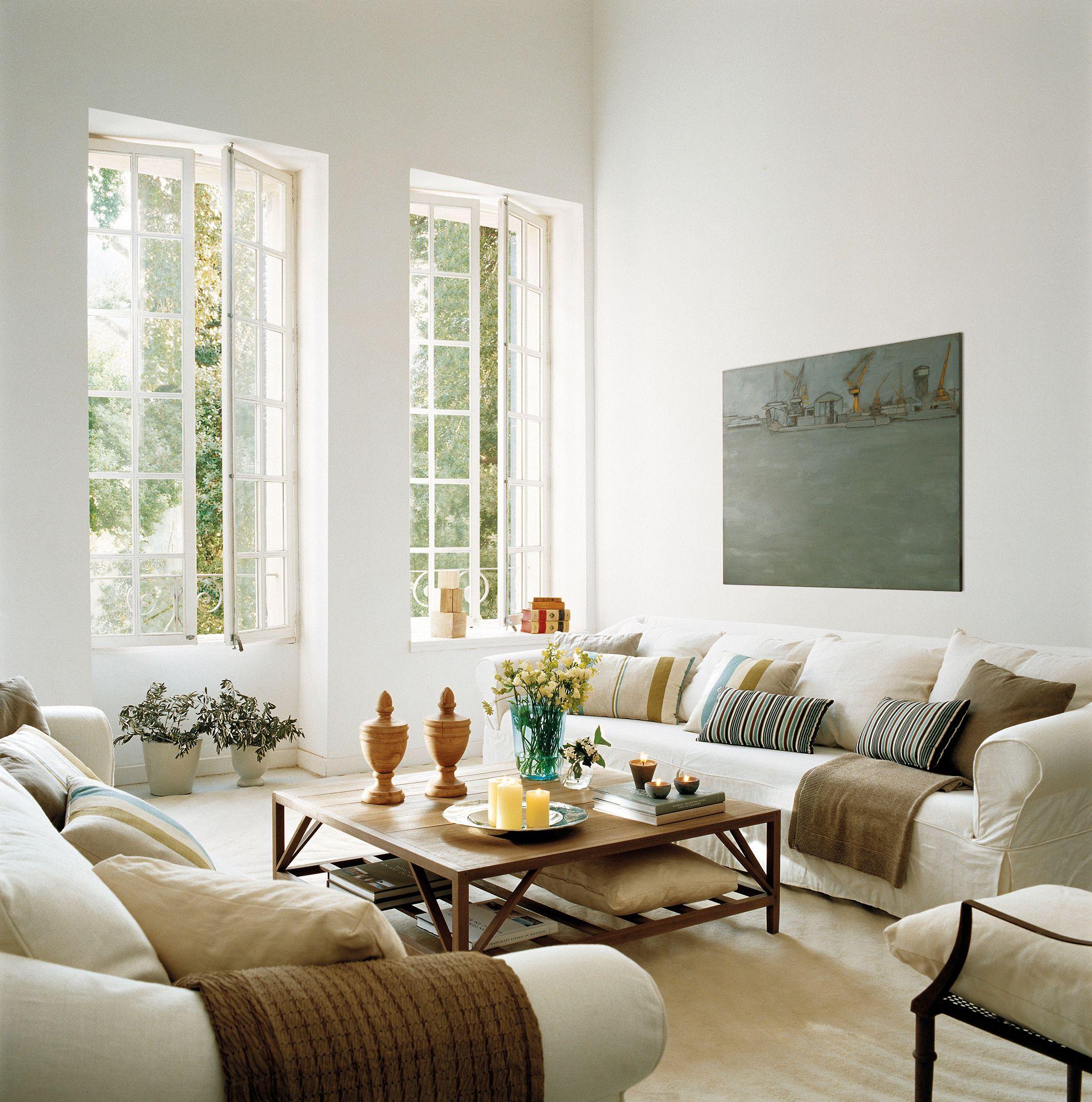 Un salón muy veraniego  Salones rústicos, Salón blanco