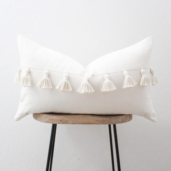ivory lumbar throw pillow cover with