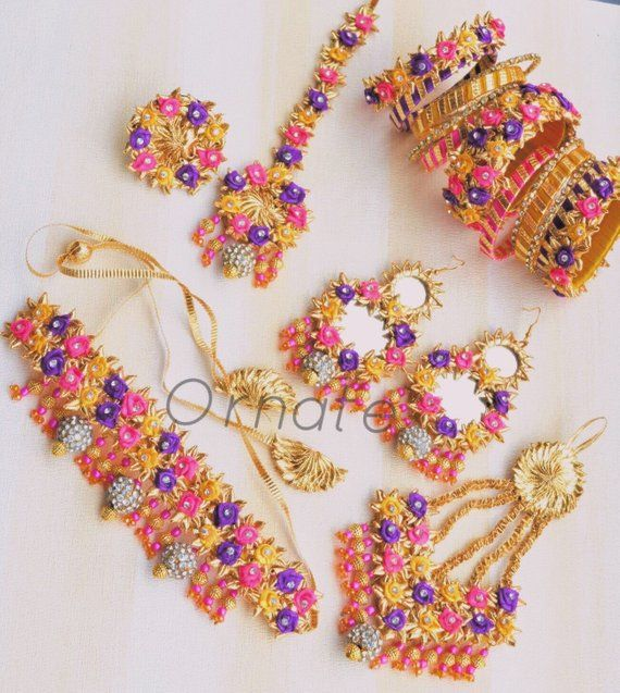 Bridal gota jewellery set for haldi/mehndi or mayon