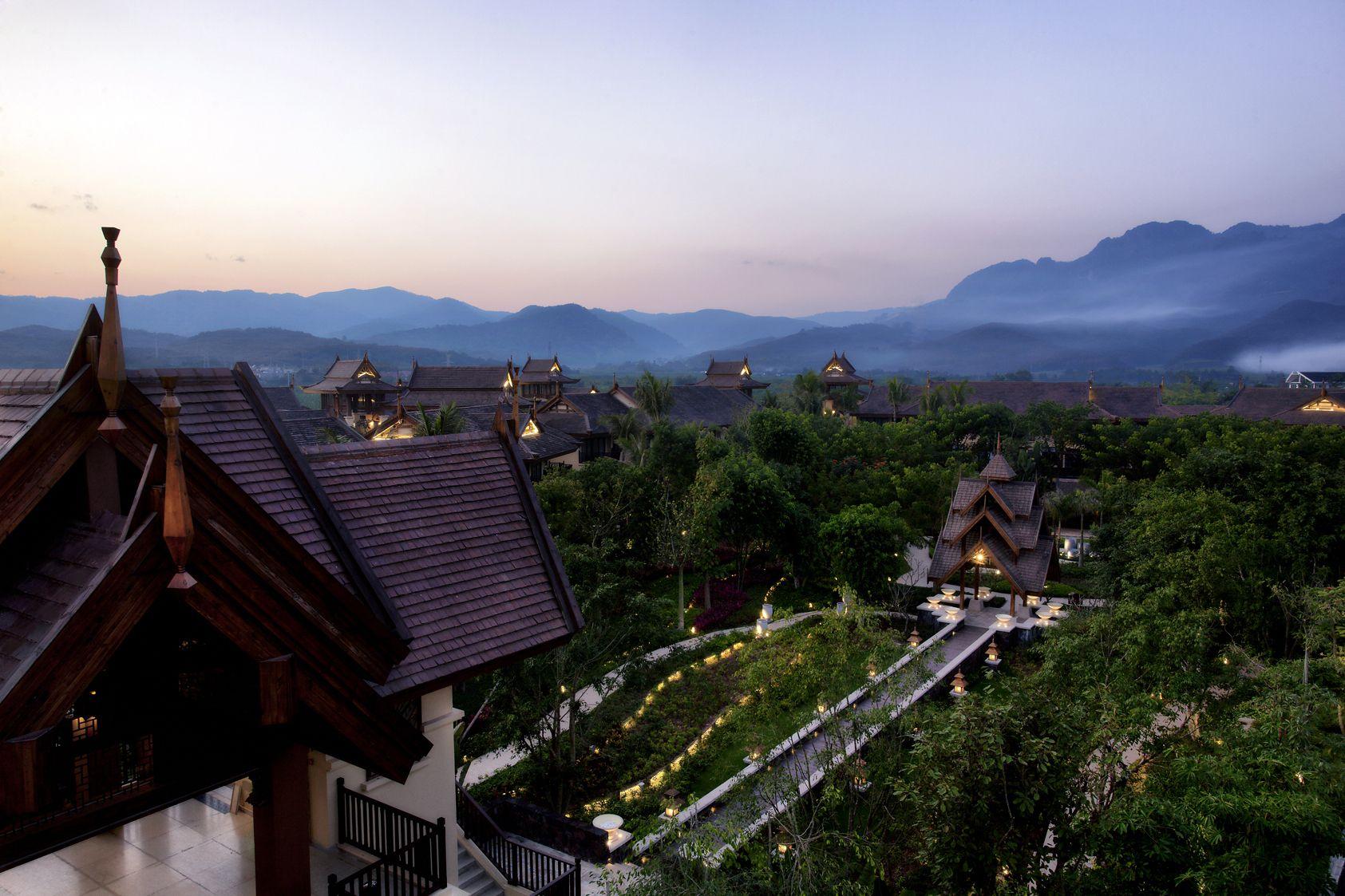 misty mountain views at anantara xishuangbanna, yunnan, china. best