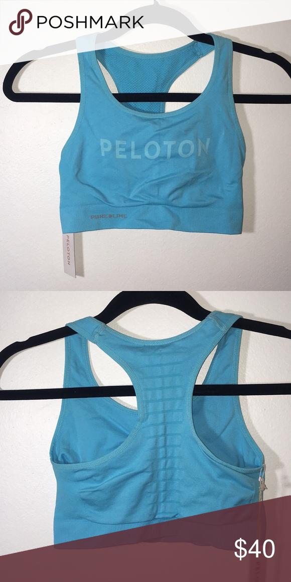dac2b878b0 NWT Peleton Sports Bra Size S M Aqua Color Seamless 94% Polyamide 6%  Elastine peloton Intimates   Sleepwear