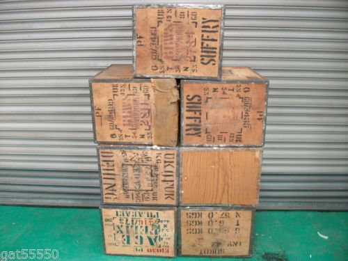 Large New Wooden Storage Box Diy Crates Toy Boxes Set: 7x USED TEA CHEST STORAGE MOVING BOXES PACKING CRATES