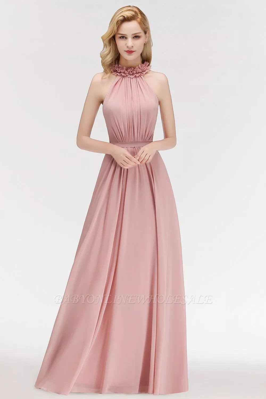 Schlichte Rosa Brautjungferkleider Neckholder A Linie Boden Gunstig Online Bestellen Brautkleid Schlicht Langes Abendkleid Blumenmadchen Kleid