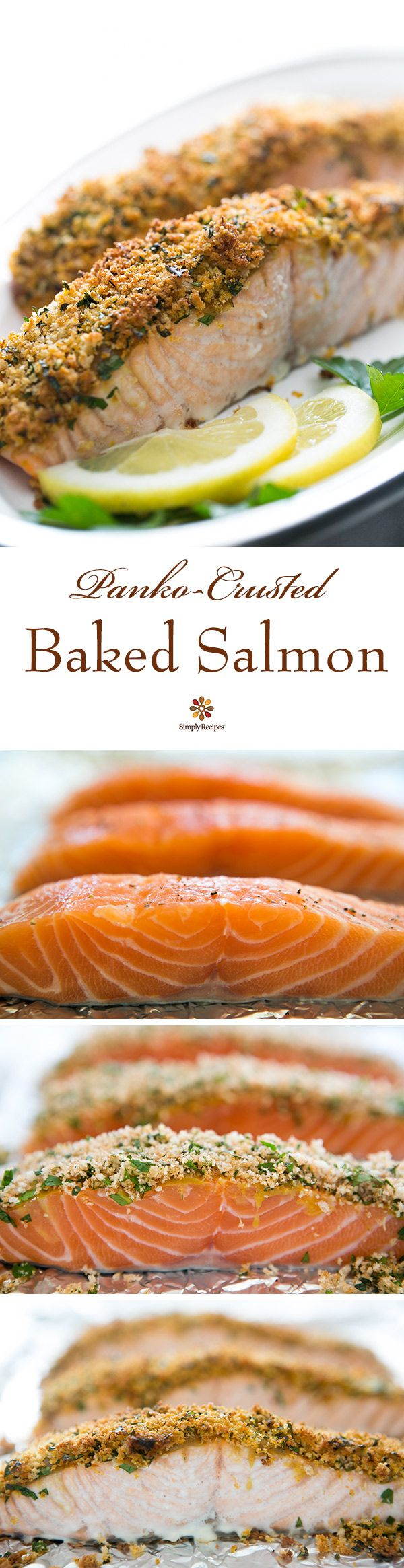 Panko-crusted baked salmon! Salmon steaks or fillets coated in honey ...