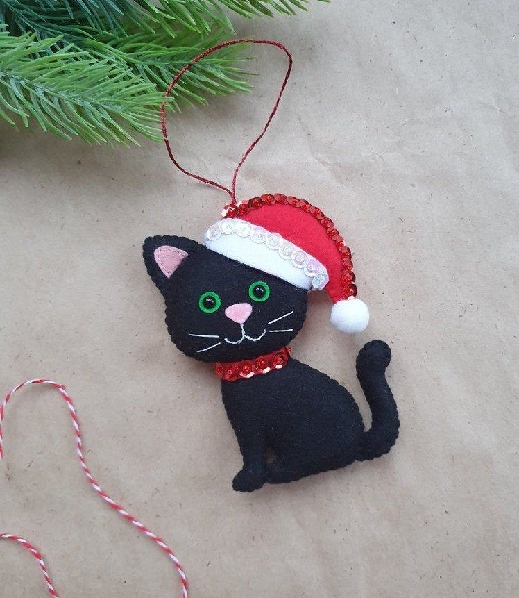 Black cat Black Felt Cat Christmas Decoration, Christmas Tree Decor Festive Ornaments Kitten in Santa Hat, Black Cat, Christmas Gift