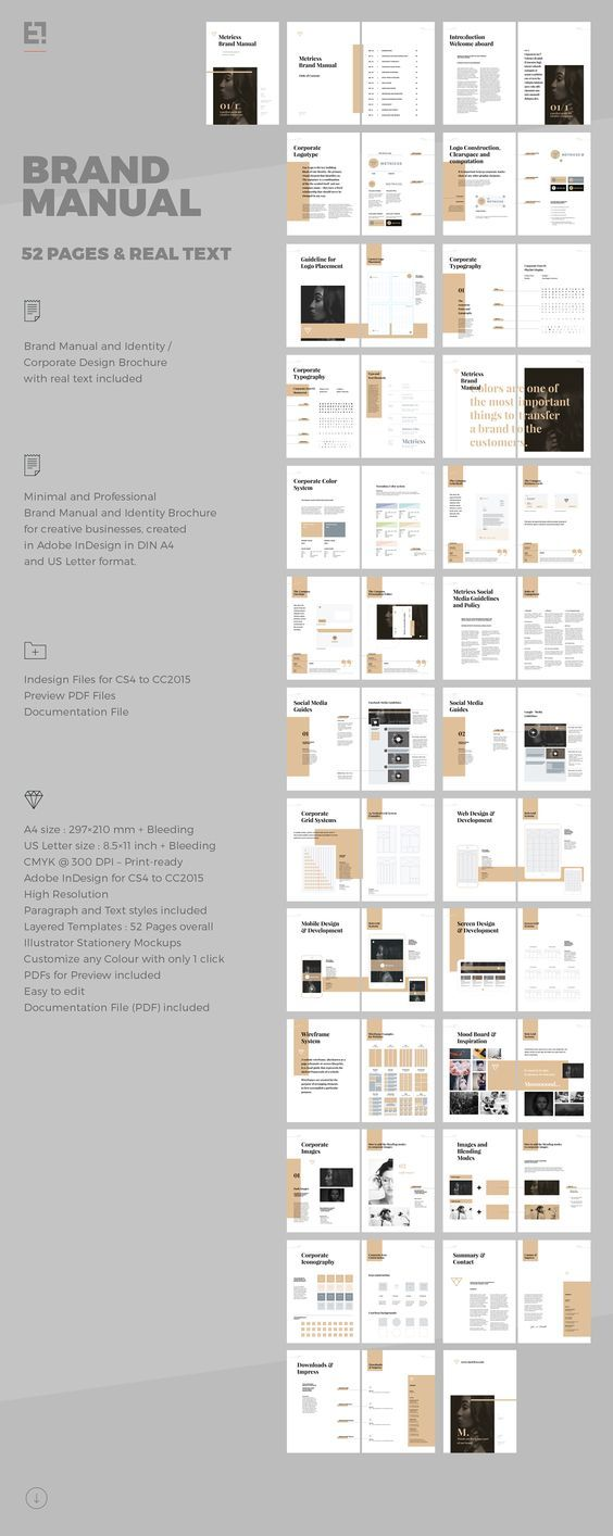 Manual Design Templates Brand Manual And Identity Template  Corporate Design Brochure .