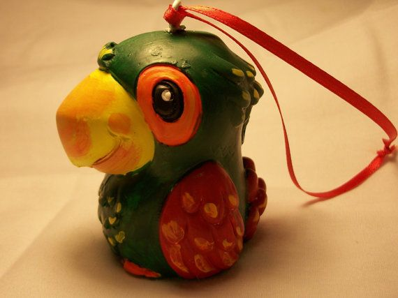 Parrot Ornament  Hand Painted Green by PurpleCowArt on Etsy, $9.00