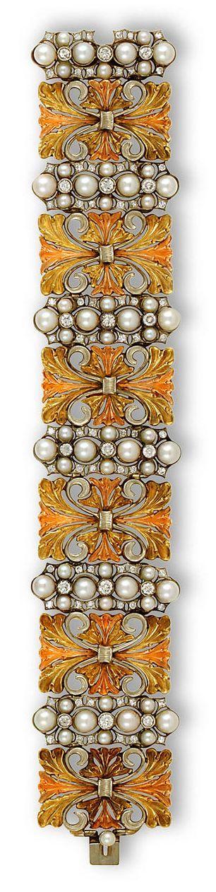 Stunning Buccellati 18K tricolor gold, cultured pearl and diamond bracelet