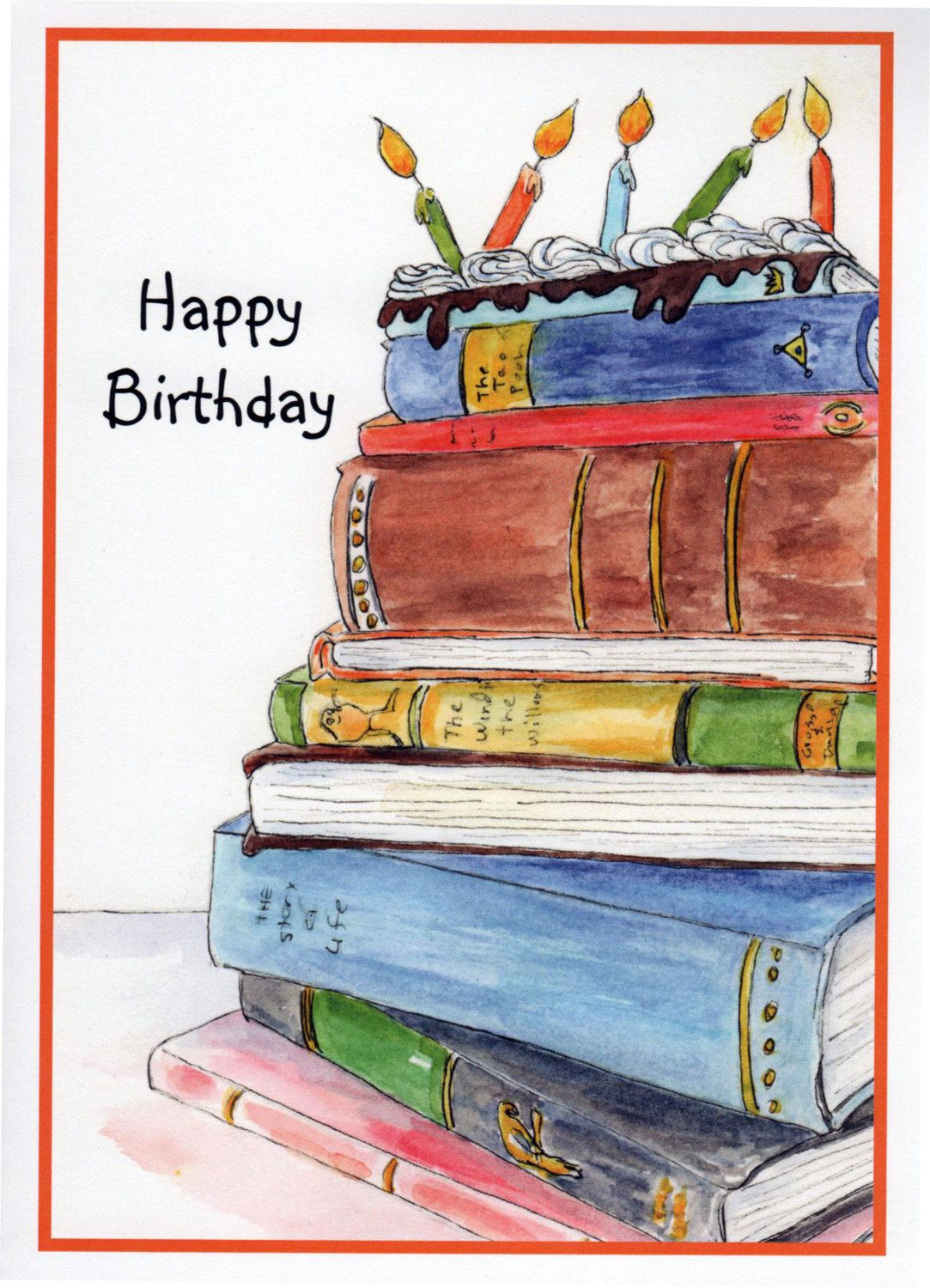 Birthday Book Cake Stack Of Books Candles By StellaJaneCards On Etsy
