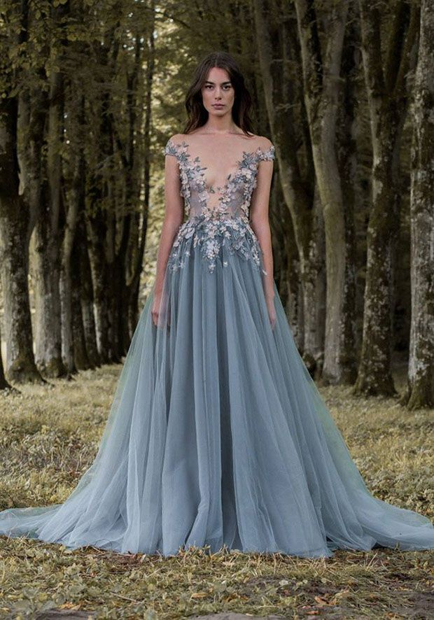 3D Floral Sheer Plunging Paolo Sebastian Pale Ocean Blue Tulle Prom ... f345b854982d