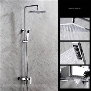 Modern Simple Chrome Plating Bathroom Shower Faucet With Handheld Shower 3  Hole 4 Handle