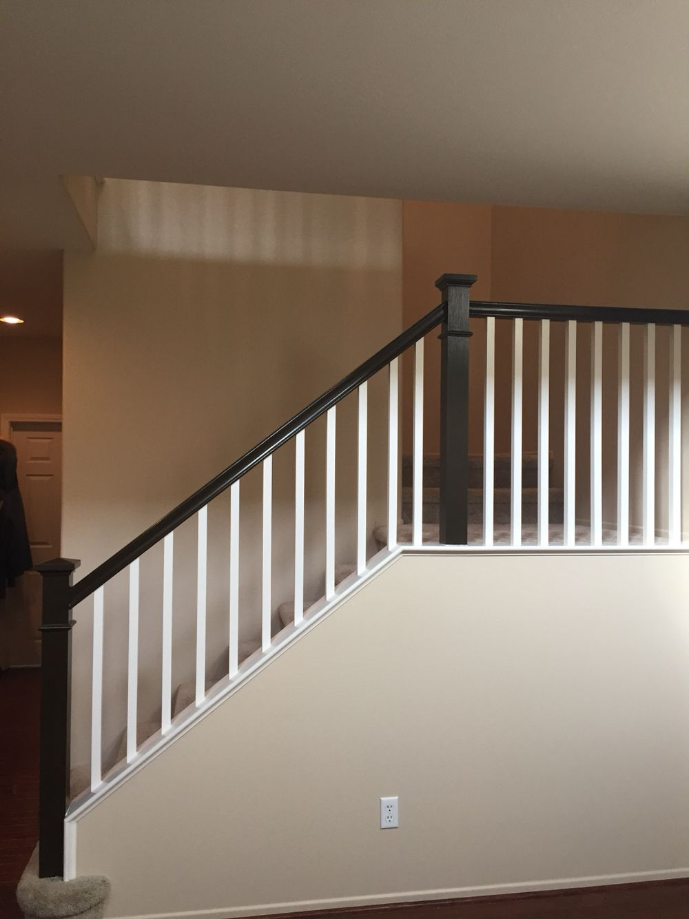Behr Wall Color Lentil Spindles Swiss Coffee Handrail
