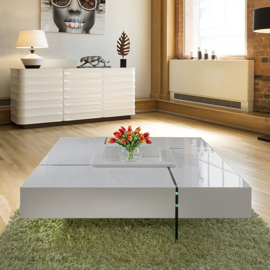 Modern Large Avorio Grey Gloss Coffee Table 1194 Mm Square Glass Legs In 2020 White Gloss Coffee Table Large Square Coffee Table Coffee Table Design