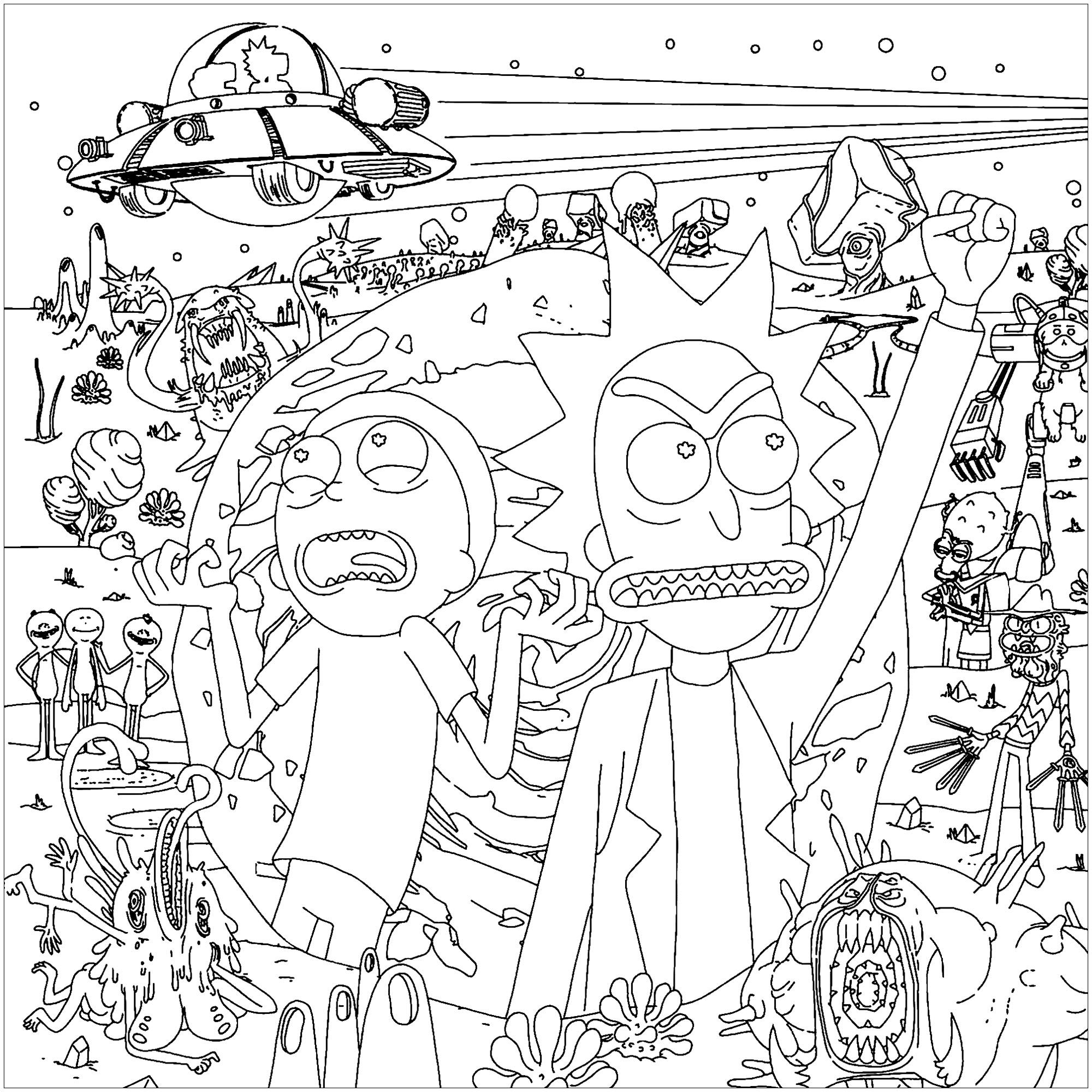 The Silly Scientist And His Grandson Are Faced With Strange Aliens Coloring Books Rick And Morty Drawing Love Coloring Pages