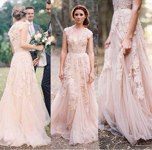 0163d35509694 Vintage Lace Wedding Dresses Cap Sleeve Bridal Gowns Size 2 4 6 8 10 ...