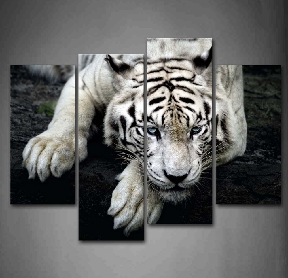 Tiger and Cub Canvas Winter Animals Landscape Wall Art Picture Home Decor