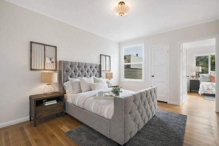 Schlafzimmer renovieren Polsterbett Kopfteil grau Teppich #bedroom