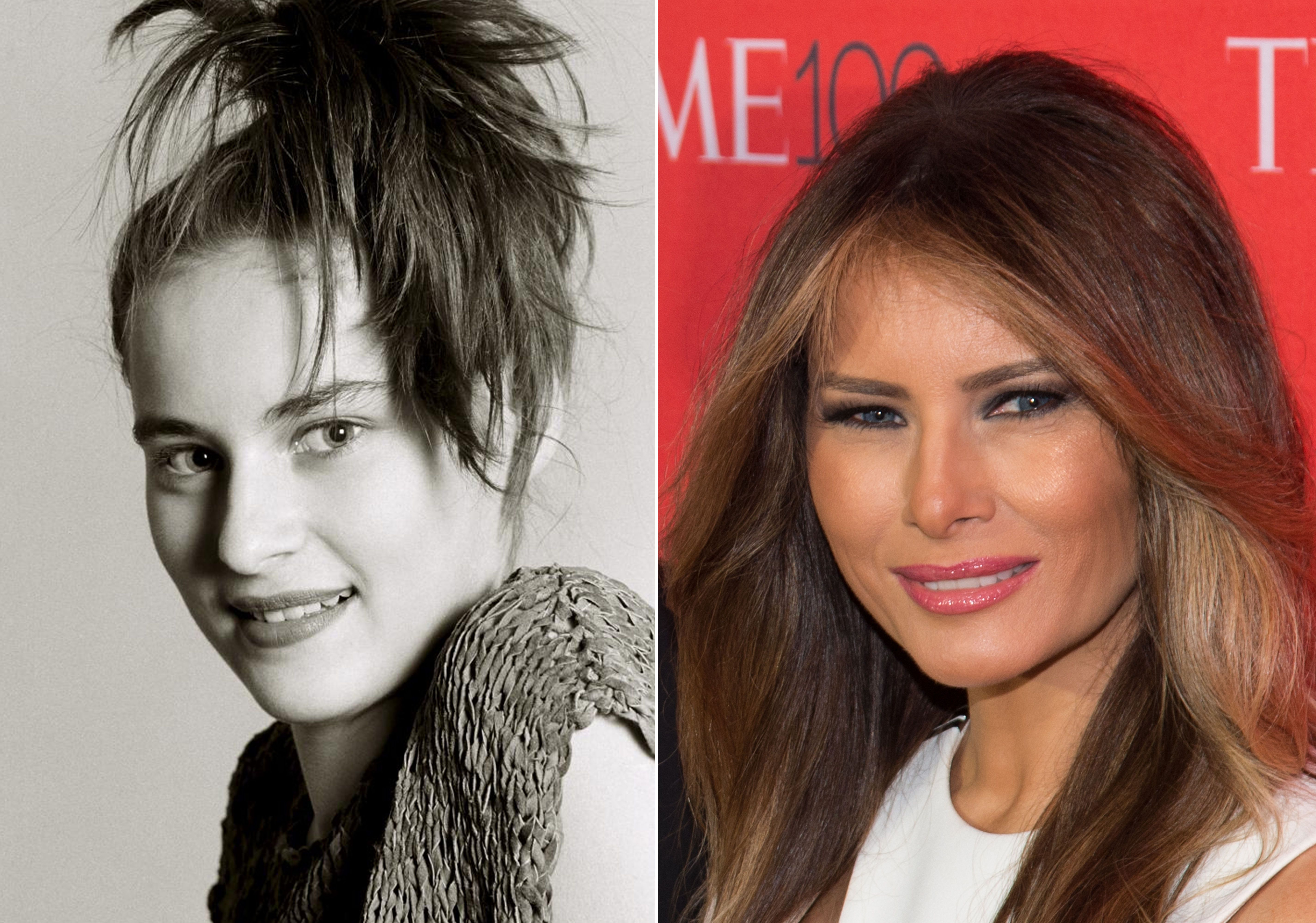 Melania Trump in 1987 (left) and in 2016 (right).