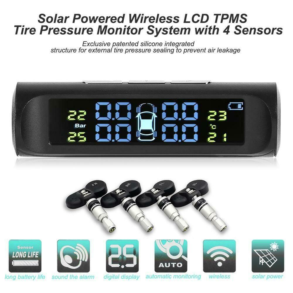 Wireless Solar Power TPMS Tire Pressure Monitoring System w// 4 Interior Sensors