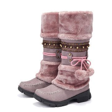 Large Size Rhinestone Slip On Mid Calf Warm Knight Boots #midcalfboots