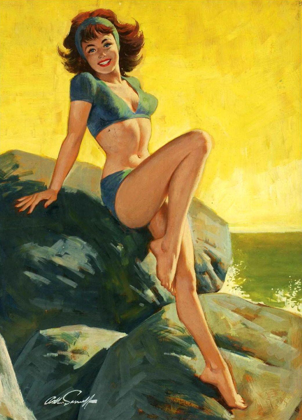 Пин ап открытка 1960